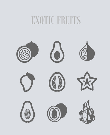 Exotic fruit icons set. Vector illustration for food apps and websites