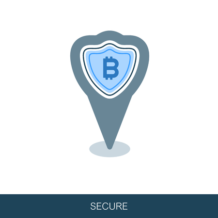 Secured digital internet cryptocurrency bitcoin pin map icon. Map pointer. Map markers. Vector design of blockchain technology, bitcoin, altcoins, cryptocurrency mining, finance, digital money market