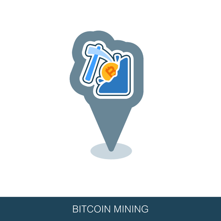 Mining bitcoin pin map icon. Map pointer. Map markers. Vector design of blockchain technology, bitcoin, altcoins, cryptocurrency mining, finance, digital money market Иллюстрация