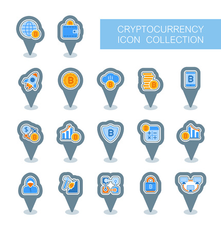 Cryptocurrency and blockchain pin map icons. Map pointer. Map markers. Vector design of blockchain technology, bitcoin, altcoins, cryptocurrency mining, finance, digital money market Иллюстрация
