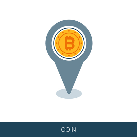 Bitcoin flat pin map icon. Map pointer. Map markers. Vector design of blockchain technology, bitcoin, altcoins, cryptocurrency mining, finance, digital money market