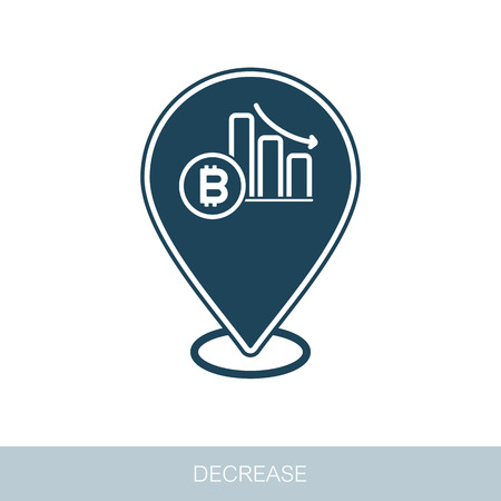 Bitcoin Rate Decrease pin map icon. Map pointer. Map markers. Vector design of blockchain technology, bitcoin, altcoins, cryptocurrency mining, finance, digital money market