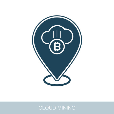 Cryptocurrency cloud mining pin map icon. Map pointer. Map markers. Vector design of blockchain technology, bitcoin, altcoins, cryptocurrency mining, finance, digital money market