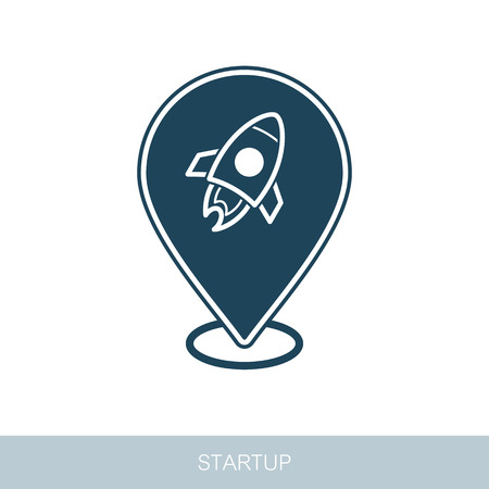 Start up pin map icon. Startup business rocket sign. Map pointer. Map markers. Vector design of blockchain technology, bitcoin, altcoins, cryptocurrency mining, finance, digital money market