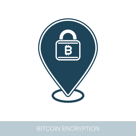 Bitcoin encryption pin map icon. Map pointer. Map markers. Vector design of blockchain technology, bitcoin, altcoins, cryptocurrency mining, finance, digital money market