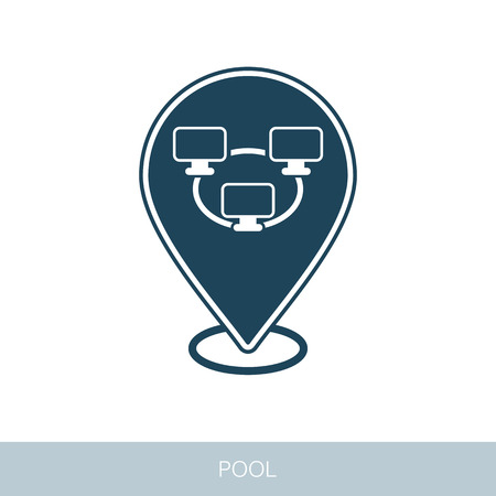Bitcoin mining pool pin map icon with peer-to-peer computer network. Map pointer. Vector design of blockchain technology, bitcoin, altcoins, cryptocurrency mining, finance, digital money market