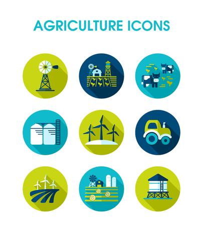 Ikona pola gospodarstwa. Znak rolnictwa. Symbol wykresu do projektowania stron internetowych, logo, aplikacji, interfejsu użytkownika. Ilustracja wektorowa, Eps10