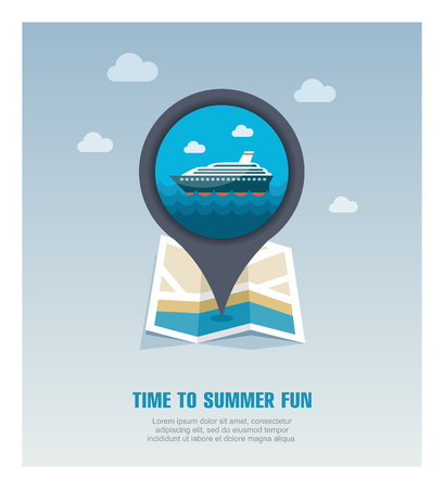Cruise transatlantic liner vector pin map icon. Marine Map pointer. Summer Map markers.