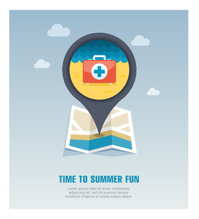 First aid vector pin map icon. Beach Map pointer. Summer Map markers. Holiday.