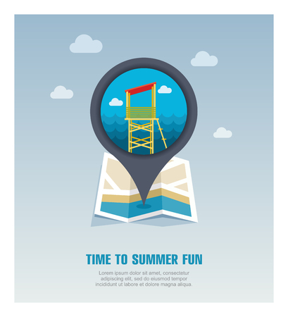 Lifeguard tower vector pin map icon. Beach Map pointer. Summer Map markers. Holiday. Stock Vector - 124689192
