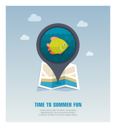 Fish vector pin map icon. Beach Map pointer. Summer Map markers.