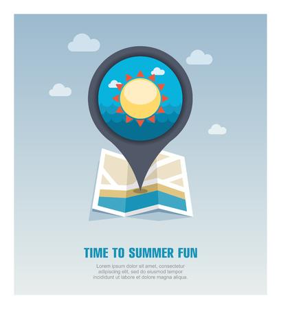 Sun vector pin map icon. Beach Map pointer. Summer Map markers. Stock Vector - 124689221