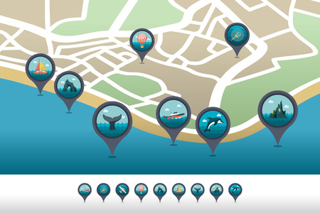 Excursion sea vector pin map icon located on the map. Summer time Map pointer.
