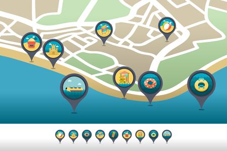 Plaża rozrywki wektor pin mapa ikona znajduje się na mapie. Wskaźnik mapy czasu letniego.