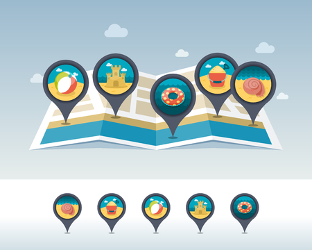 Beach ball, sandcastle, circle, seashell, shovel and bucket pin map icon located on map. Summertime Map pointer. Map markers. Vacation Illustration