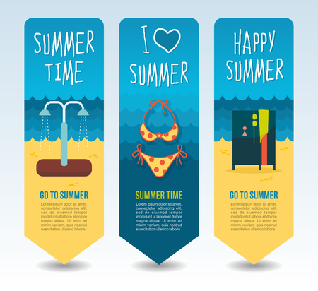 Swimsuit, beach shower cabin and cloakroom. Summer Travel and vacation vector banners. Summertime. Holiday Illustration