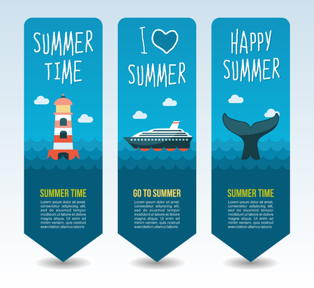 Lighthouse, cruise liner and whale tail. Summer Travel and vacation vector banners. Summertime. Holiday