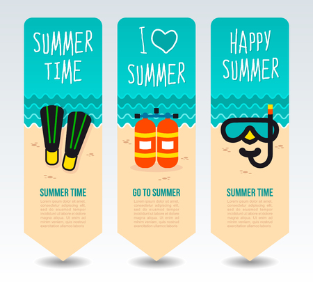 Oxygen tank, diving flipper and mask. Summer Travel and vacation vector banners. Summertime. Holiday Illustration
