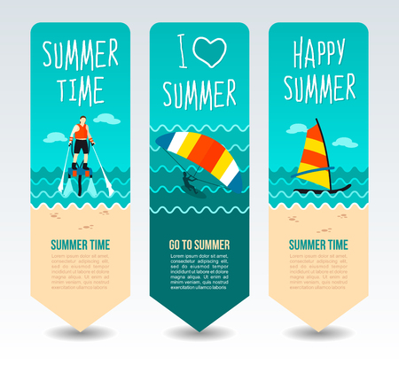 Fly board, kite boarding and windsurf. Summer Travel and vacation vector banners. Summertime. Holiday