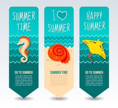 Seahorse, seashell and ramp. Summer Travel and vacation vector banners. Summertime. Holiday Illustration