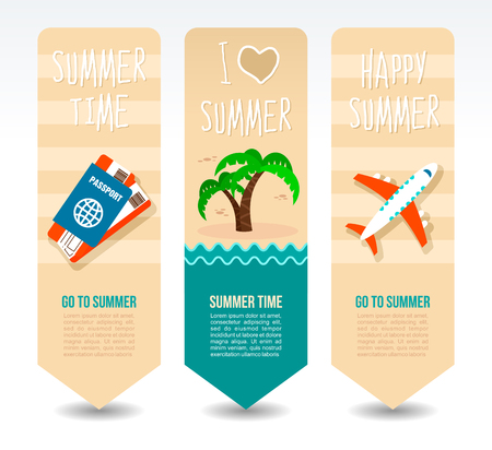 Passport and ticket, airplane and palm tree. Summer Travel and vacation vector banners. Summertime. Holiday Illustration