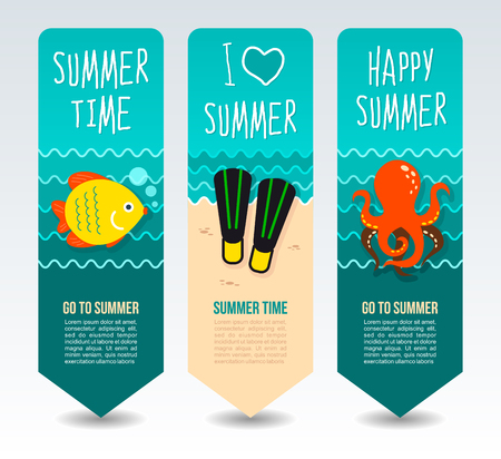 Diving flipper, fish and octopus. Summer Travel and vacation vector banners. Summertime. Holiday