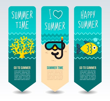 Dive mask, fish and coral. Summer Travel and vacation vector banners. Summertime. Holiday
