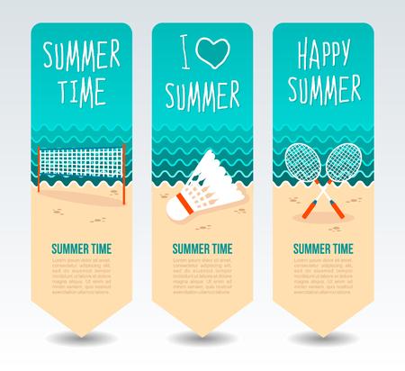 Badminton racket, shuttlecock and net. Summer Travel and vacation vector banners. Summertime. Holiday Ilustração Vetorial