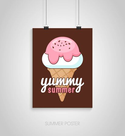 Summer flyer card with ice cream. Yummy summer. Journal cards. Vector illustrations for t-shirt, poster prints. Holiday, travel, vacation theme Çizim