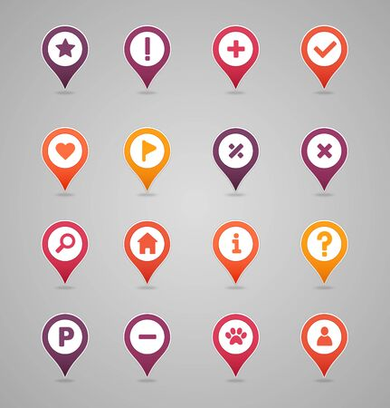 Pin map icon set. Map pointer. Map markers. Destination vector icon. GPS location symbol.