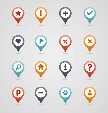 Pin map icon set. Map pointer. Map markers. Destination vector icon. GPS location symbol. Mapping pins icon EPS 10 vector file has transparency, shadow under the icons