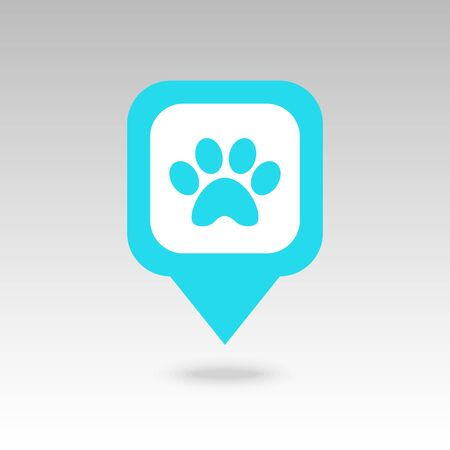 Dog paw pin map icon. Map pointer. Map markers. Destination vector icon. GPS location symbol.
