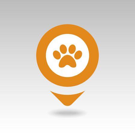 Dog paw pin map icon. Map pointer. Map markers. Destination vector icon. GPS location symbol. Mapping pins icon EPS 10 vector file has transparency, shadow under the icons