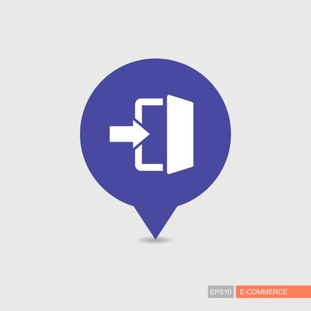 Login pin map icon in trendy flat style. E-commerce sign. Map pointer. Map markers. Destination vector icon. Graph symbol for your web site design, logo, app, UI. Vector illustration, EPS10.