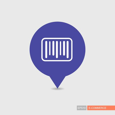 Bar code pin map icon. E-commerce sign. Map pointer. Map markers. Destination vector icon. Graph symbol for your web site design, app, UI. Vector illustration Illustration