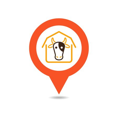 Cowshed pin map icon. Farm animal Map pointer. Map marker. Graph symbol for your web site design,app, UI. Vector illustration