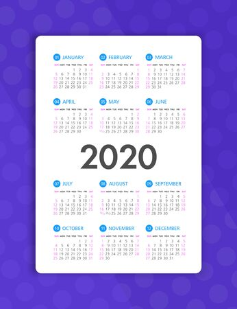 Calendar 2020 year. Color vector template. Week starts on Sunday. Basic grid. Pocket square calendar. Ready design 矢量图像