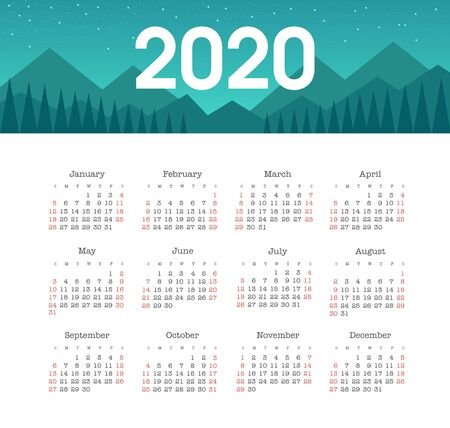 Calendar 2020 year with Mountain Landscape. Color vector template. Week starts on Sunday. Basic grid. Pocket square calendar. Ready design