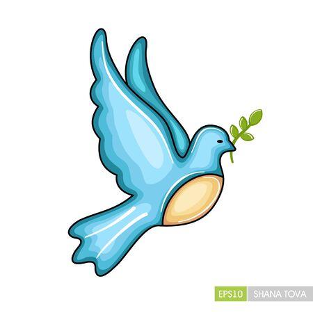 Dove. Rosh Hashanah icon. Shana tova. Happy and sweet new year in Hebrew Ilustração