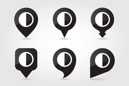 Half Moon outline pin map icon. Map pointer. Map markers. Sleep night dreams symbol. Meteorology. Weather. Vector illustration eps 10 Çizim