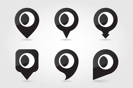 Young Moon outline pin map icon. Map pointer. Map markers. Sleep night dreams symbol. Meteorology. Weather. Vector illustration eps 10