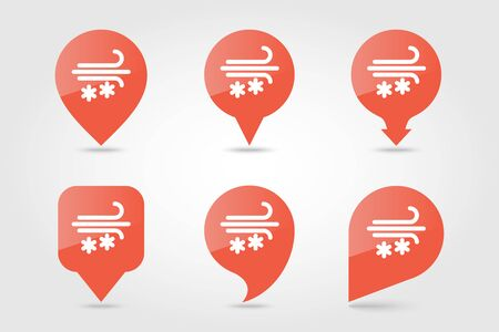 Wind Snow Snowstorm outline pin map icon. Map pointer. Map markers. Meteorology. Weather. Vector illustration eps 10