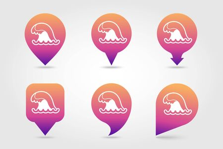 Ocean wave vector pin map icon. Beach Map pointer. Summer Map markers. Summertime. Vacation, eps 10