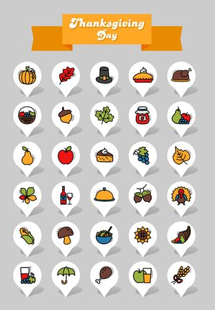 Thanksgiving Day pin map icon set. Harvest map pointer. Map markers. Vector illustration for apps and websites