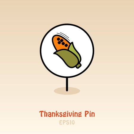 Corn pin map icon. Harvest map pointer. Thanksgiving map markers. Vector illustration for apps and websites