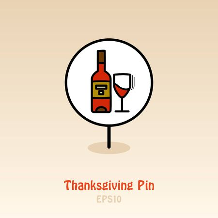 Bottle of wine and glass pin map icon. Harvest map pointer. Thanksgiving map markers. Vector illustration for apps and websites