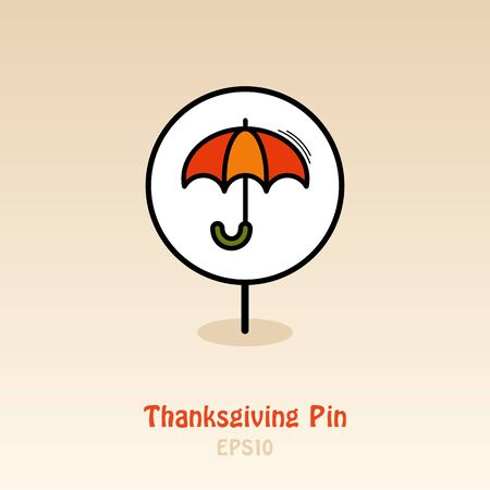 Umbrella pin map icon. Rain protection symbol. Harvest map pointer. Thanksgiving map markers. Vector illustration for apps and websites
