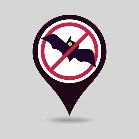 No, Ban or Stop signs. Halloween Bat pin map icon. Map pointer. Map markers. Prohibition forbidden red symbols, vector illustration eps 10