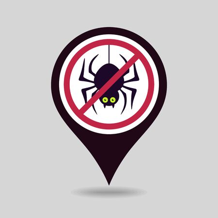 No, Ban or Stop signs. Spider halloween pin map icon. Map pointer. Map markers. Prohibition forbidden red symbols, vector illustration eps 10