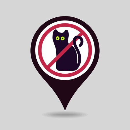 No, Ban or Stop signs. Halloween, black cat pin map icon. Map pointer. Map markers. Prohibition forbidden red symbols, vector illustration eps 10